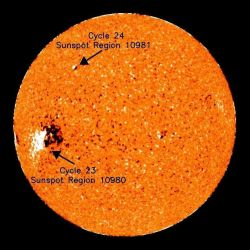Solar image showing sunspot activity from NOAA NCEP Space Weather Prediction Center. Photo