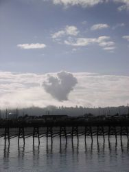 A heart shape cloud over Newport, Oregon - gives rise to an