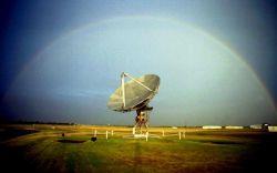 A rainbox arching over the WSR-88D test radar. Image