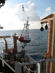 TAO Buoy Array deployment, mooring sequence in the deep sea on the NOAA Ship GORDON GUNTER. Photo