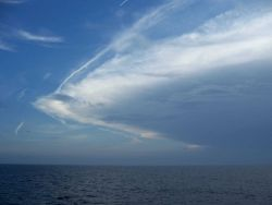 A thunderstorm approaching Chesapeake Bay entrance. Image