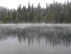 A dusting of snow with cold air over warmer water in a lake causing fog to form. Image