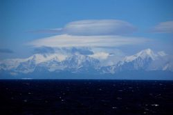 Lenticular clouds over the South Georgia Island. Photo