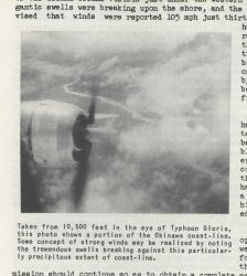 Propeller of an RB-29 Air Weather Service Reconnaissance aircraft flying in the eye of Typhoon Gloria as it made landfall on Okinawa Photo