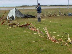 Debris being driven at great rates can be driven several feet into the ground. Photo