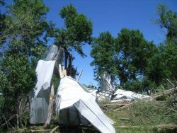 Damage to farm outbuilding near Langford. Photo