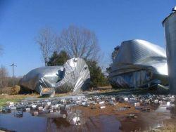 A destroyed grain bin near Benton Image