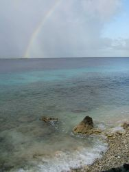 A tropical rainshower leaves a pot of pirate's gold at the end of the rainbow. Image