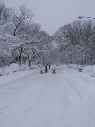 A street scene following second major snowstorm of 2009/2010 season. Image