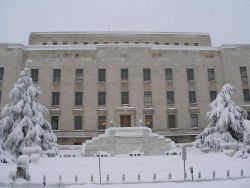 Adams Building of the Library Congress on the day following the February 5-6 snowstorm. Image