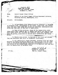 Letter transferring photographs noting that all instruction ceased November 30, 1918, and that the meteorological unit would be demobilized by Decembe Photo
