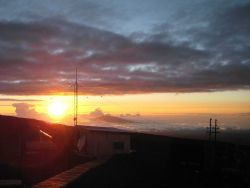 Looking NW from the Mauna Loa atmospheric observatory at sunset. Photo