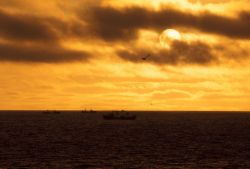A sunset over Bering Sea crab fishing vessels. Image