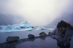 Allen Shimada enjoying the weather at Portage Glacier. Image