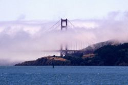 A view of the north pier of the Golden Gate Bridge. Image
