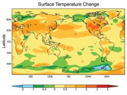 Surface temperature change graphic indicating North America and the northern hemisphere are becoming warmer. Photo