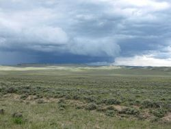 A thunderstorm in the distance close to the Wyoming state line between Gould, Colorado, and Riverside, Wyoming. Photo