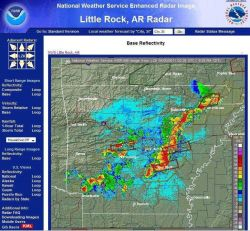 Little Rock NWSFO doppler radar image of tornado and severe storm warnings in central and northeast Arkansas on the evening of April 19, 2011. Photo