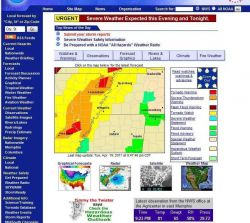 Paducah, Kentucky, NWSFO doppler radar base reflectivity showing huge bow echo, tornado warnings, severe thunderstorm warnings, and flood warnings in  Photo