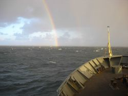 A double rainbow seen on the starboard bow of the MILLER FREEMAN. Image