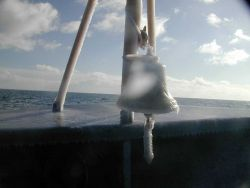A glaze of ice covering the MILLER FREEMAN's ship's bell. Image