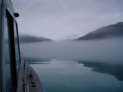 Streamers of fog fill valleys and parallel cliffs along the shore in Glacier Bay . Photo