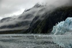 Streamers of fog fill valleys and parallel cliffs along the shore in Glacier Bay Photo