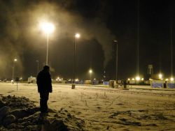 A cold cold morning at the Fairbanks train station. Image