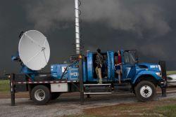 A Doppler on Wheels radar tracks an intense supercell thunderstorm west of Guthrie. Photo