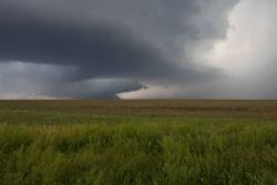 Intense updrafts produce a rain-free cloud base in a supercell Photo