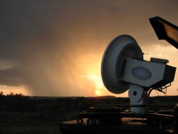 Equipment and Sunset - National Severe Storms Laboratory (NSSL) Collection Photo