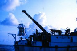 A dive bell support ship must be in a multi-point mooring to avoid dragging. Image