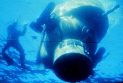 DEEP JEEP at the surface-- a Navy experimental sub built in 1964. Photo