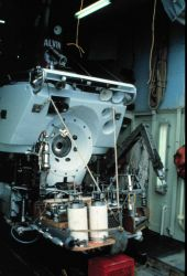 ALVIN loaded for sample collection dives in 2500 meters off New Jersey. Image