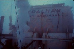 EDALHAB during the FLARE project off FL used ALVIN's support ship, Lulu. Photo