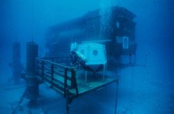 AQUARIUS in 1989 -- only operational offshore habitat now dedicated to science. Image