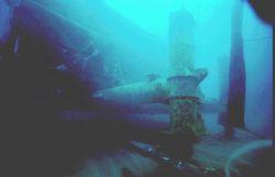 AQUARIUS post-hurricane Hugo-- 6 feet of sand scoured from beneath leg. Photo