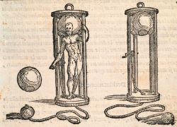 An early diving bell used by 16th Century divers during salvage operations Image