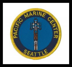 Patch commmemorating NOAA' Seattle ship base known as the Pacific Marine Center. Photo
