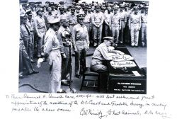 Copy of Admiral Chester Nimitz signing Japanese surrender document at the end of World War II Photo