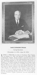 Lewis Lichtenstein Strauss, 1896 - , Acting Secretary of Commerce. Photo