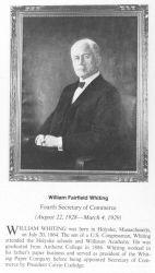 William Fairfield Whiting, 1864 - ,fourth Secretary of Commerce. Photo