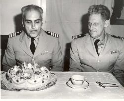 Celebrating Captain Arthur Wardwell's birthday on the PATHFINDER with Commander David Whipp. Photo