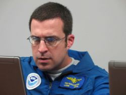 P-3 Lieutenant Commander Tim Gallagher at briefing prior to flying into Hurricane Ike. Photo