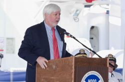 National Marine Fisheries Deputy Assistant Administrator John Oliver speaking at commissioning ceremony of NOAA Ship BELL M Photo