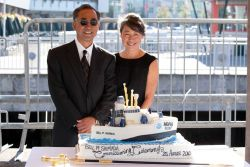 Allen and Julie Shimada, at the commissioning ceremony for the ship named for their father, the NOAA Ship BELL M Image