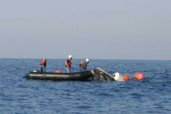 Personnel of the NOAA Fisheries Large Whale Disentanglement Program helping disentangle an endangered North Atlantic Right Whale Photo