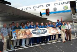 Crew members of NOAA's WP-3D Orion Hurricane Hunter Aircraft join members of WFO Melbourne, the final stop of the 2007 Hurricane Awareness Tour Photo