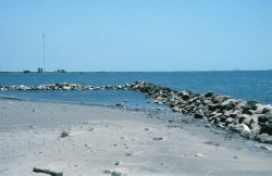 A southeast exposure where erosion is evident, the rock revetments were placed to prevent loss of sediments from erosion. Image