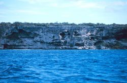 The craggy face of a cliff at Mona Island Photo